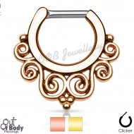 Septum Clicker Hinged Tribal Swirl Gold IP Nose Ring