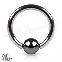 316L Steel Captive Bead Ring W/ Hematite Ball