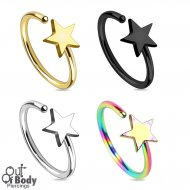 Hoop Nose Ring W/ Star Top In IP Titanium Colours