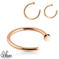 Hoop Nose Open Ring W/ Flat End IP Rose Gold