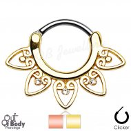 Septum Clicker Round Hinged Tribal Flower W/ Gems In Gold IP