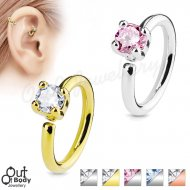 Ear Cartilage Bendable Hoop Ring With Prong Set Round CZ