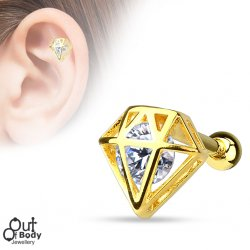 Cartilage/ Helix Diamond Top W/ Incased CZ 14KT Plated Barbell
