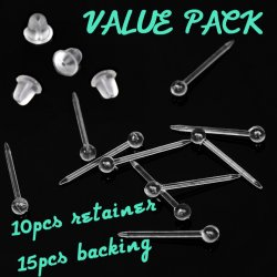 Ear Cartilage/ Lobe Retainer Posts W/ Ball Top 10PC Value Pack