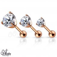 Cartilage/ Tragus Barbell W/ Prong Set Round CZ In IP Rose Gold