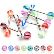Acrylic Colourful Twister Balls W/ 316L Steel Straight Barbell