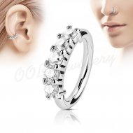 Hoop Nose Ring Bendable Lined W/ 5 Clear Prong CZ