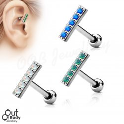 Cartilage/ Helix 5 Opal Set Straight Bar Barbell