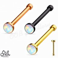 20G Opal Flat Top Nose Stud W/ Titanium PVD Over 316L Steel