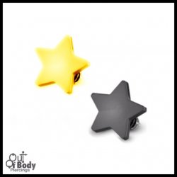Flat Dermal Top Star W/ Titanium IP Over 316L Surgical Steel