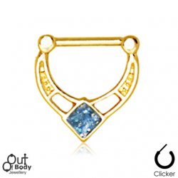Septum Clicker Hinged Gold Plated W/ Blue Glitter Rhombus