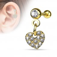 Cartilage/ Helix Barbell W/ Dangle Pave Heart In Gold IP