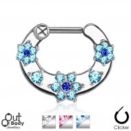 Septum Clicker Hinged 2 Colour Gem Paved Flower Nose Ring
