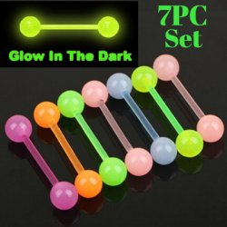 Acrylic Glow In The Dark 7PC Tongue Nipple Barbell Value Pack