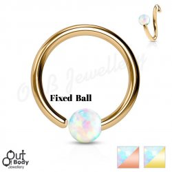 Septum Cartilage/Ear Hoop Fixed Opal Ball Bendable IP Gold Ring