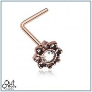 Lotus Flower Rose Gold Filigree W/ CZ Sparkle L-Bend Nose Ring