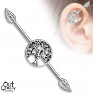 Burnish Silver Life Tree Industrial Barbell W/ Leaf Ends In 316L