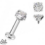 Ear Labret Stud Premium Prong Round CZ Threaded Gem Top