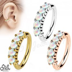 Ear Cartilage Bendable Hoop Ring With 5 Lined Faux White Opals