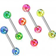 316L Steel Barbell W/ Aurora Borealis Over Splash Acrylic Balls