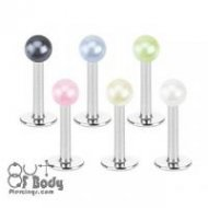 316L Steel Labret W/ Acrylic Pearlish Coat Ball