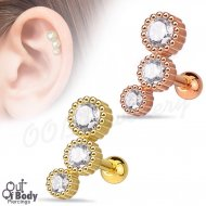 Cartilage/ Helix CZ Gem Row Rippled Barbell W/ Rose Gold or Gold