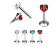 1.2mm/16G Prong Set Heart CZ Internally Threaded Labret