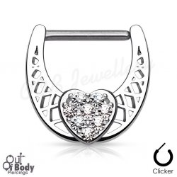 316L Steel Nipple Clicker W/ CZ Paved Center Heart
