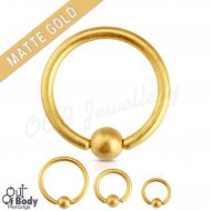 316L Steel Captive Bead Ring W/ IP Matte Gold Titanium