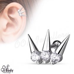 Cartilage/ Tragus Barbell 3 CZ Set Spike Top 316L Steel Barbell