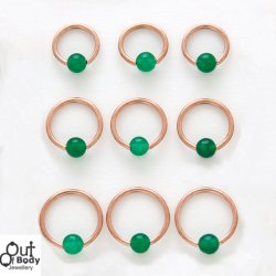 316L Steel Captive Bead Hoop 14KT Rose Gold Plated W/ Jade Ball