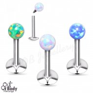 Ear Labret Stud W/ Opal Ball Top Internally Threaded