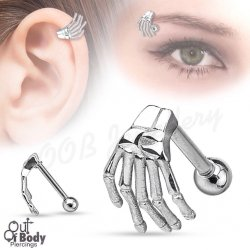 Cartilage/ Helix Skeleton Hand Top Barbell In 316L S. Steel