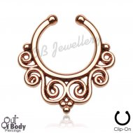 Septum Hanger Rose Gold Beaded Tribal Swirl Non Pierce Nose Ring