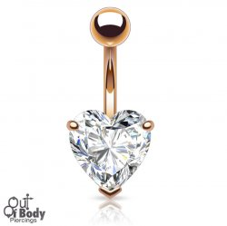 7mm Prong Set Heart CZ Navel Ring In Rose Gold Plating