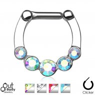 Septum Clicker Hinged W/ 5 AB Or Clear Gems Nose Ring