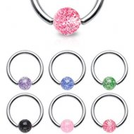 316L Steel Captive Bead Ring W/ Ultra Glitter Ball