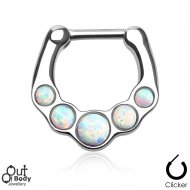 Septum Clicker 5 White Fire Opal Nose Ring