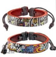 Brown Leather Graffiti Wristband