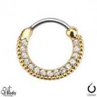 Septum Clicker Round Hinged Paved Clear Gems W/ Gold IP