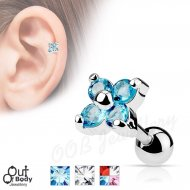 Cartilage/ Tragus Flower Quad CZ Gem Top Barbell