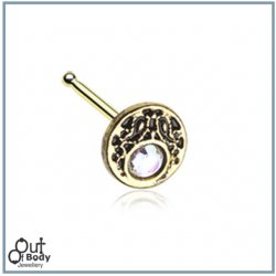 Legend Golden Crescent W/ CZ Sparkle Nose Stud Bone