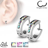 Lined Crystal Front Oval Shape Hoop Earrings In Stainless Steel