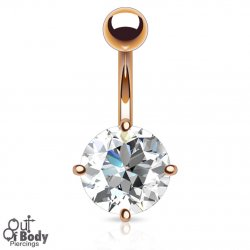 7mm Prong Set Round CZ Navel Ring In Rose Gold Plating