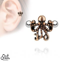 Cartilage/ Helix Ear Cuff Octopus 316L Surgical Steel Barbell
