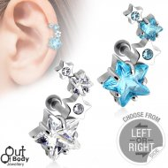 Cartilage/ Helix CZ Cluster Star Barbell In Left Or Right Side