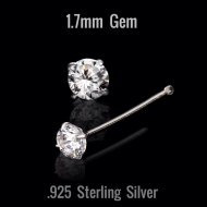 Sterling Silver Prong Set Round Clear CZ Nose Stud