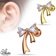 Cartilage/ Tragus CZ Triangle Ribbon W/ IP Gold Barbell