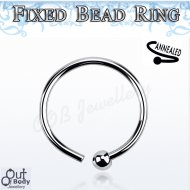 Hoop Nose Ring W/ Fixed Micro Ball In Mixed Size 316L Steel