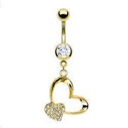18K Gold Plated Double Dangling Heart Belly Ring
